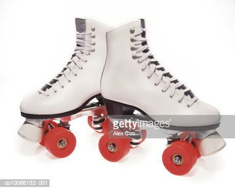 Pair Of Rollerskates On White Background Stock Photo   Getty Images