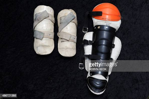 A pair of shin guards and one large single shin guard both personally owned and used by martial arts legend Bruce Lee are seen on display in Los...