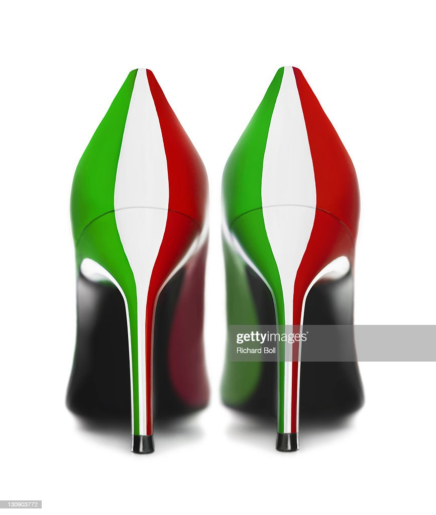 A pair of shoes in the colours of the Italian flag : Stock Photo