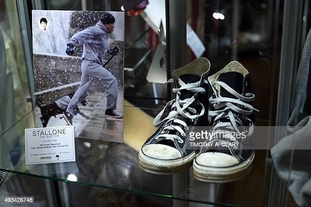 A pair of shoes worn by actor Sylvester Stallone in the film' Rocky VI' on display during a press preview of Heritage Auctions upcoming auction of...