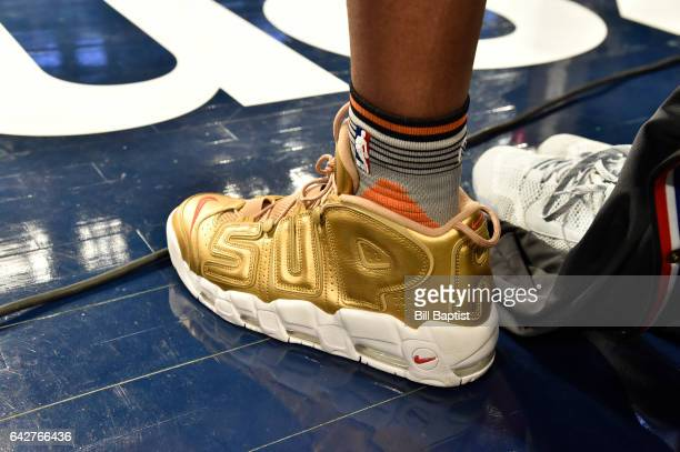 A pair of shoes worn by Derrick Jones Jr of the Phoenix Suns during the Verizon Slam Dunk Contest on State Farm AllStar Saturday Night as part of the...