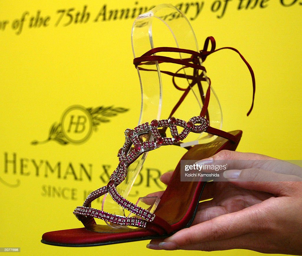 A pair of shoes worth $1,500,000 sits on display at a department store June 12, 2003 in Tokyo, Japan. The shoes, decorated with 690 rubies set in platinum totalling more than 100 carats, were designed by Hollywood shoe designer Stuart Weitzman to be worn by an actress at this year's Academy Awards, but were pulled out of respect for the war with Iraq.