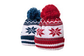 Pair of snowflake pattern bobble hats