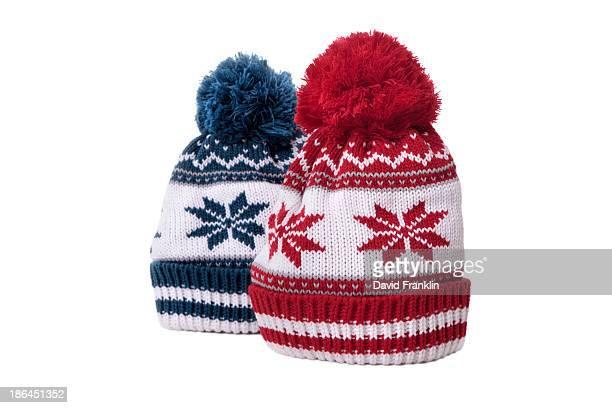 Pair of snowflake pattern bobble hats