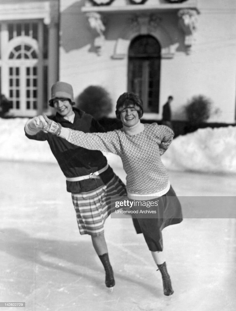 A pair of society women from Boston and New York cut some fancy capers on the ice at Tuxedo Park, Tuxedo Park, New York, January 3, 1927.