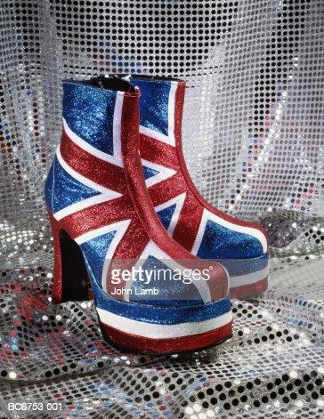 Pair of Union Jack platform boots, close-up