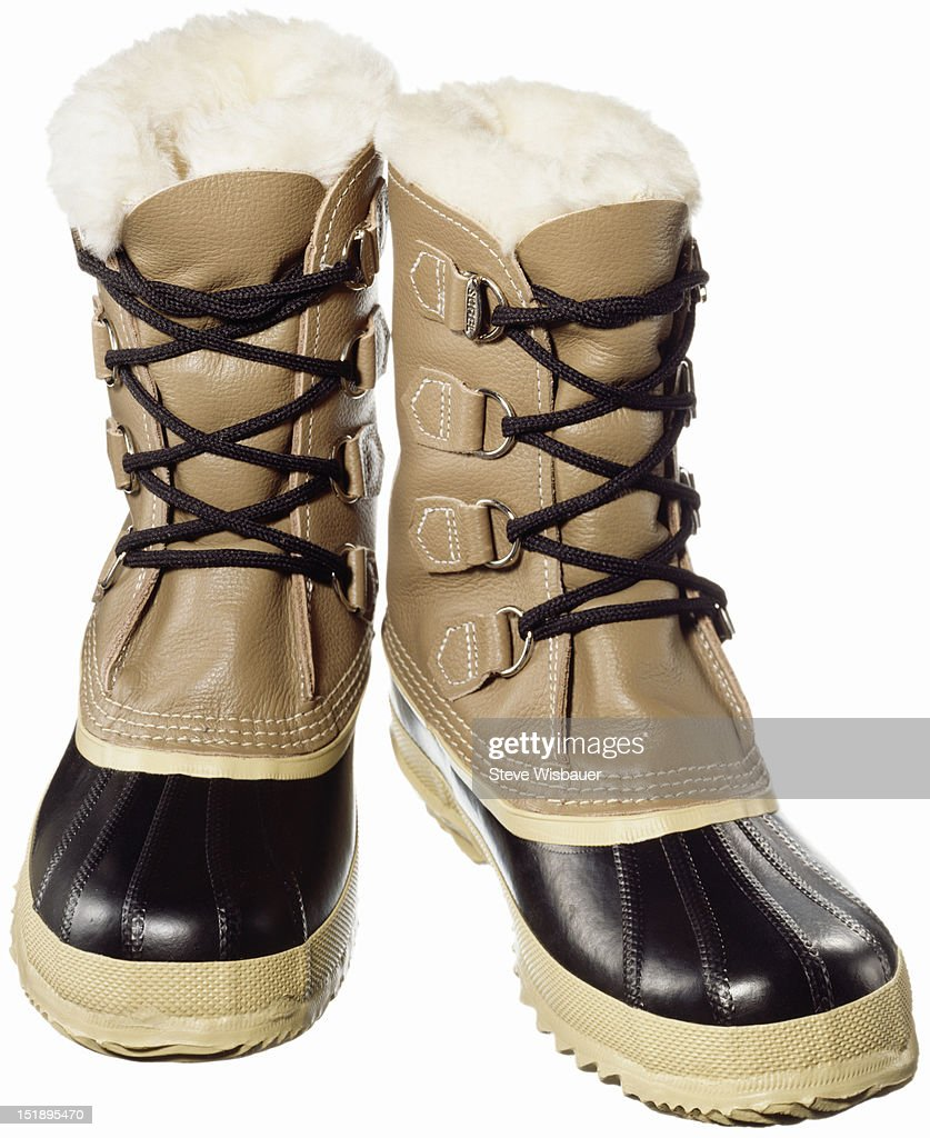 A pair of warm fur lined snow boots