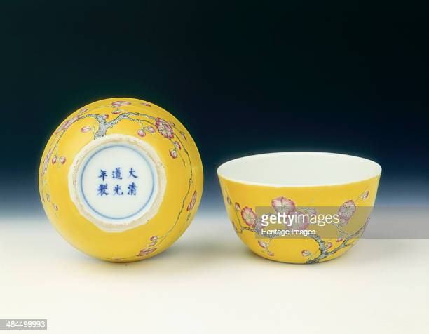 Pair of yellow ground famille rose cups Late Qing dynasty 19thearly 20th century A pair of small cups with recessed bases The cups are painted on the...