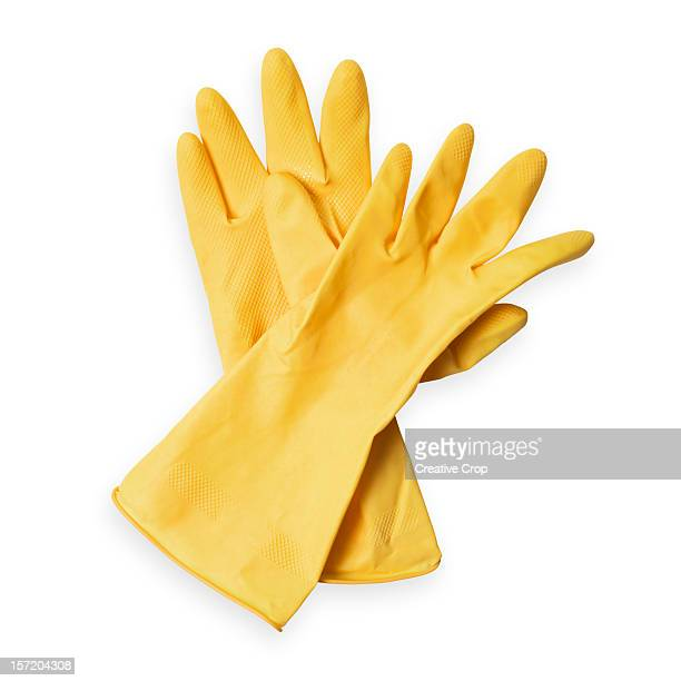 Pair of yellow rubber washing up/ cleaners gloves