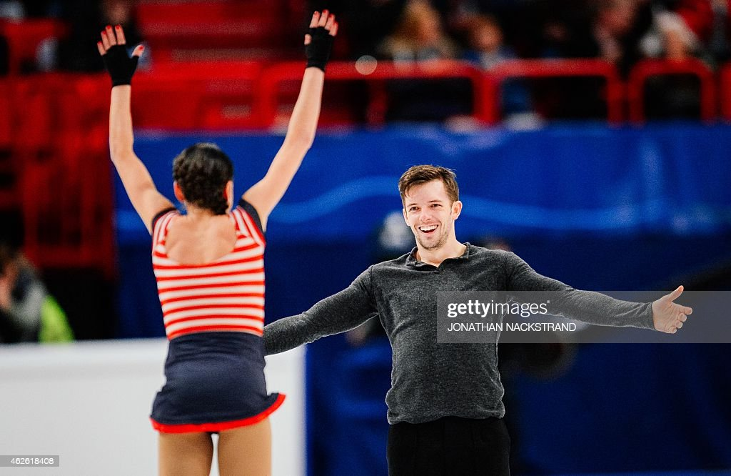 Pair <a gi-track='captionPersonalityLinkClicked' href=/galleries/search?phrase=Valentina+Marchei&family=editorial&specificpeople=734432 ng-click='$event.stopPropagation()'>Valentina Marchei</a> and Ondrej Hotarek of Italy react after performing their free skating program routine during the ISU European Figure Skating Championships on February 1, 2015 in Stockholm, Sweden. AFP PHOTO / JONATHAN NACKSTRAND