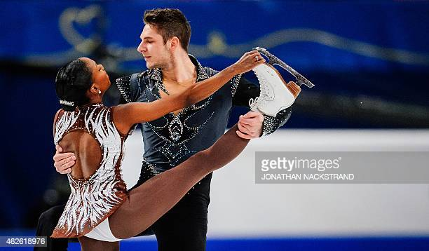 Pair Vanessa James and Morgan Cipres of France perform their free skating program routine during the ISU European Figure Skating Championships on...