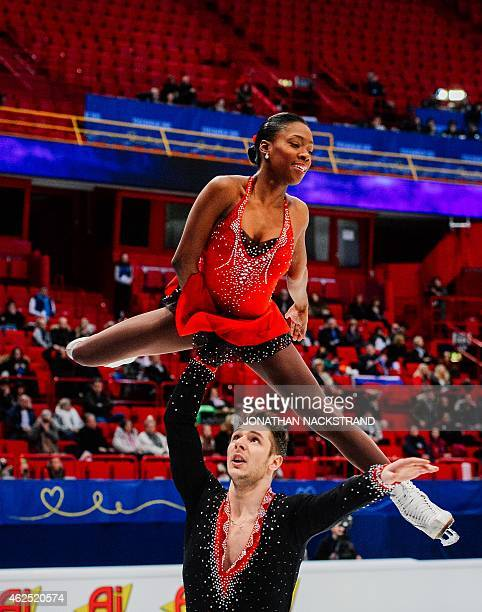 Pair Vanessa James and Morgon Cipres of France perform their short program routine during the ISU European Figure Skating Championships on January 30...