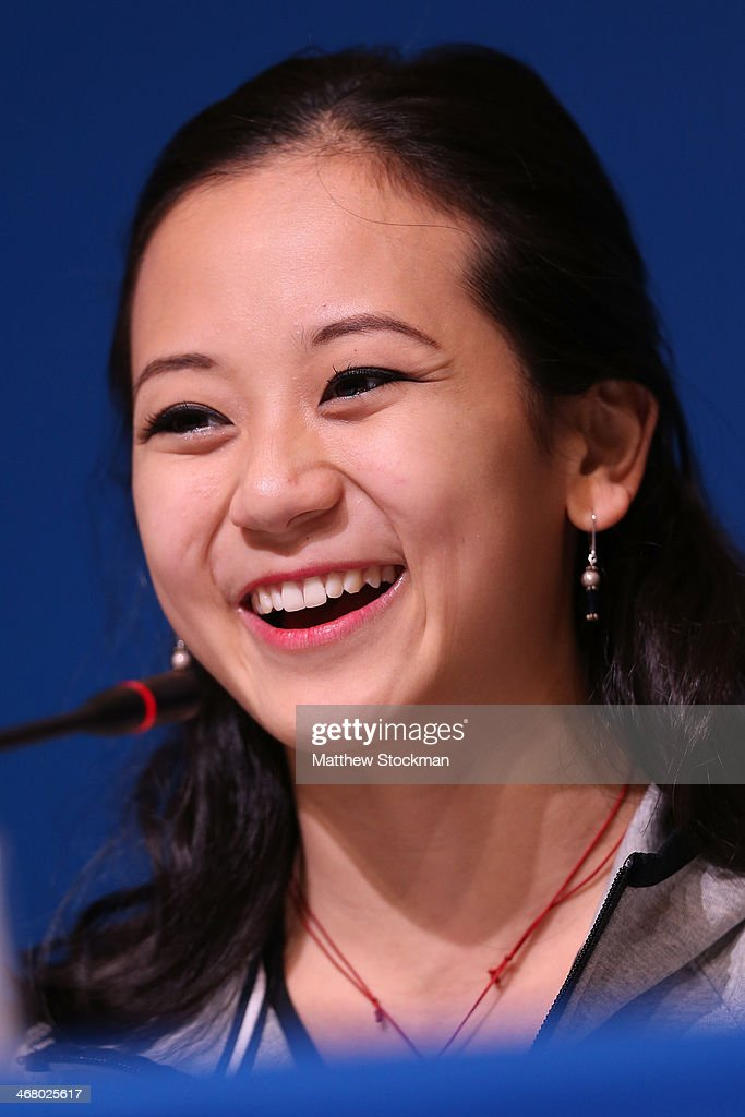 Pairs figure skater <a gi-track='captionPersonalityLinkClicked' href=/galleries/search?phrase=Felicia+Zhang&family=editorial&specificpeople=7338307 ng-click='$event.stopPropagation()'>Felicia Zhang</a> of the United States attends a Team USA press conference during Day 2 of the Sochi 2014 Winter Olympics at the Main Press Center (MPC) on February 9, 2014 in Sochi, Russia.