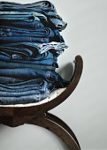 15 pairs of blue jeans