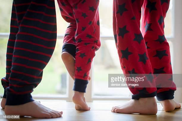 3 pairs of legs dancing