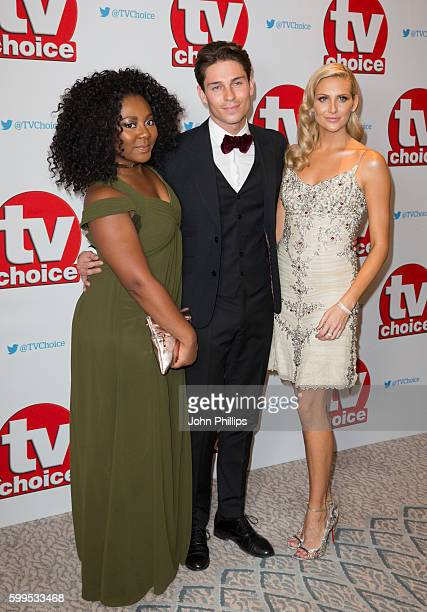 Paisley Billings Joey Essex and Stephanie Pratt arrive for the TV Choice Awards at The Dorchester Hotel on September 5 2016 in London England