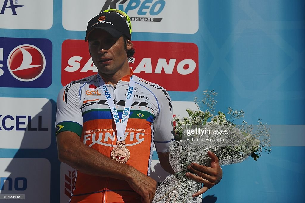 Paiva Chamorro of Funvic Soul Cycles-Carrefour celebrates on the podium after taking third position during Stage 8 of the 2016 Tour of Turkey, Marmaris to Selcuk (201.5 km) on May 1, 2016 in Marmaris, Turkey.