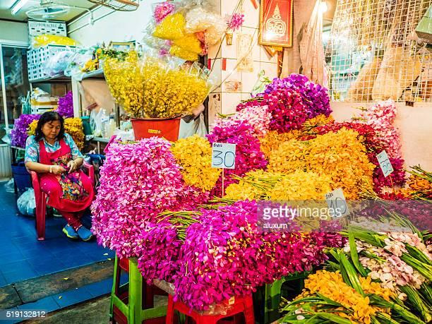 Pak Khlong Talat flower street market Bangkok Thailand