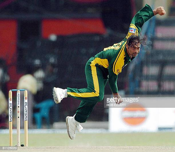 Pakinstan bowler Shoaib Akhtar gets airborne in his delivery in the match between Bangladesh and Pakistan at R Premadasa International Cricket Ground...