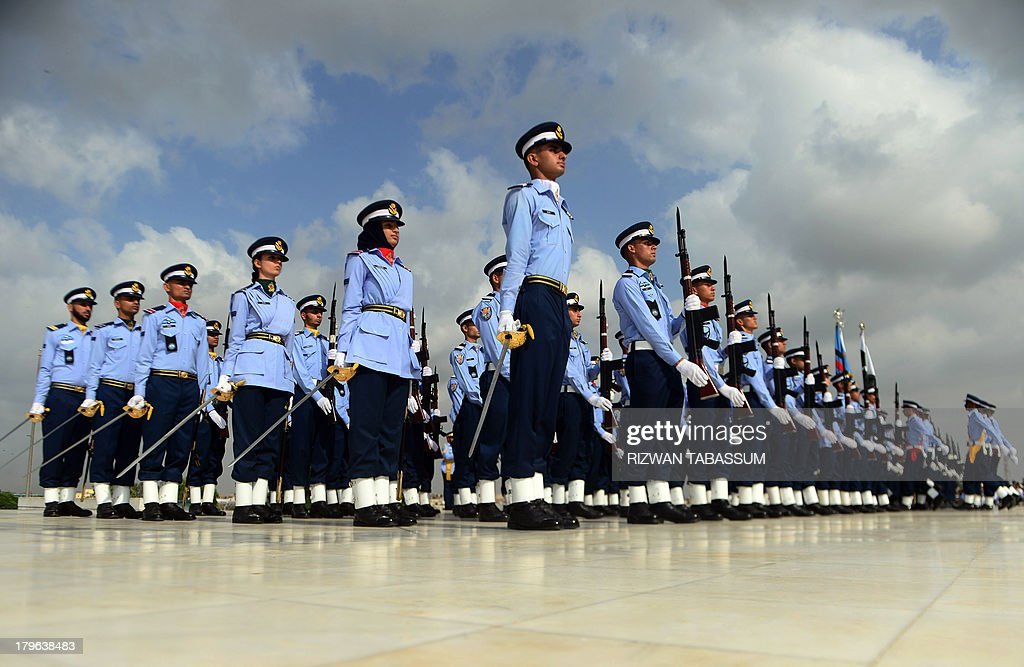 Pakistan Air Force cadets take part in a ceremony at the mausoleum of the country's founder Mohammad Ali Jinnah in Karachi on September 6, 2013 to mark the countrys Defence Day. Pakistan's armed forces staged a display of their capacities as they celebrated Defence Day, a commemorative day of the war fought against neighboring India in 1965.