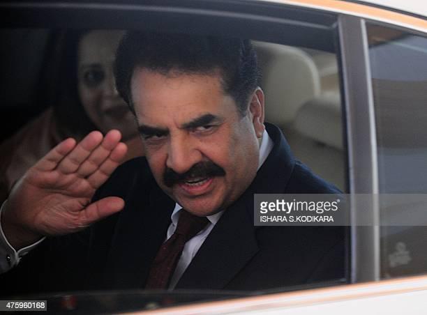 Pakistan Army Chief of Staff General Raheel Sharif gestures after arriving at Bandaranaike International Airport in Katunayake near Colombo on June 5...