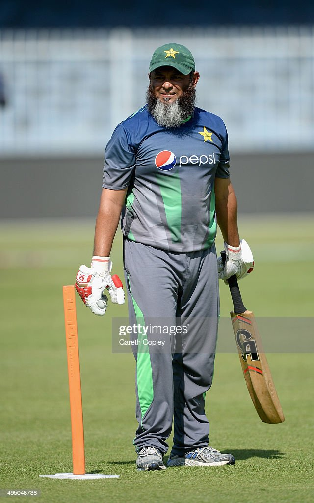 Pakistan assistant coach Mushtaq Ahmed during a nets session at Sharjah Cricket Stadium on October 31 2015 in Sharjah United Arab Emirates