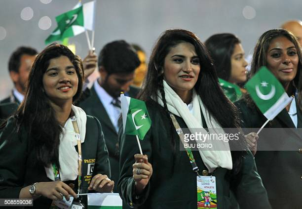 Pakistan athletes and officials march during the opening ceremony of the 12th South Asian Games 2016 at Indira Gandhi Athletic Stadium in Guwahati on...