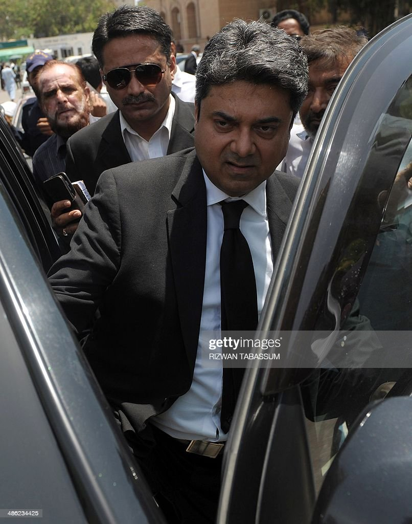 Pakistan Barrister Farogh Naseem and counsel for former Pakistani military ruler Pervez Musharraf leaves the high court after a hearing in Karachi on April 23, 2014. Former Pakistanimilitary ruler Pervez Musharraf, facing a battery of criminal cases, must wait a fortnight to learn if he will be given permission to go abroad to visit his sick mother. A court in Karachi on April 23 adjourned a hearing on the retired general's application to have a travel ban lifted so he can see his elderly mother in Dubai. AFP PHOTO/Rizwan TABASSUM