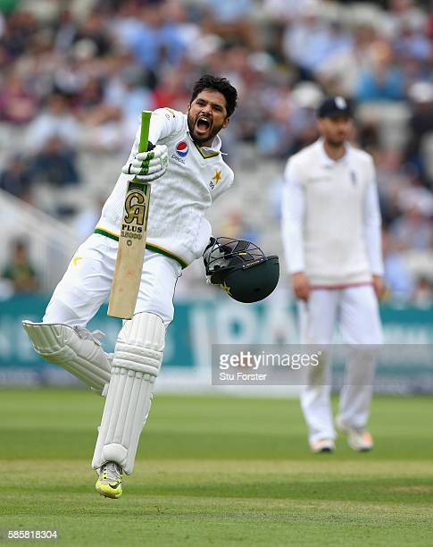 Pakistan batsman Azhar Ali celebrates his century during day two of the 3rd Investec Test Match between England and Pakistan at Edgbaston on August 4...