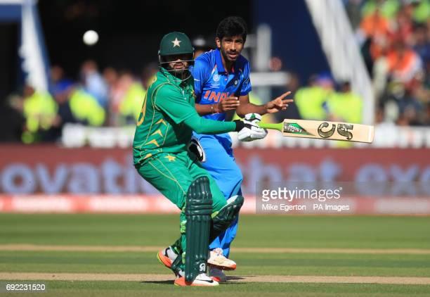 Pakistan batsman Azhar Ali collides with India's Jasprit Bumrah during the ICC Champions Trophy Group B match at Edgbaston Birmingham