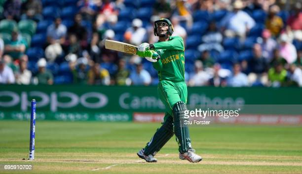 Pakistan batsman Fakhar Zaman hooks Mark Wood for 6 runs during the ICC Champions Trophy semi final between England and Pakistan at SWALEC Stadium on...
