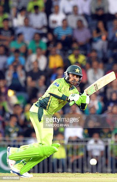 Pakistan batsman Haris Sohail plays a shot during a oneday international 2015 World Cup warmup cricket match between Pakistan and Bangladesh at...