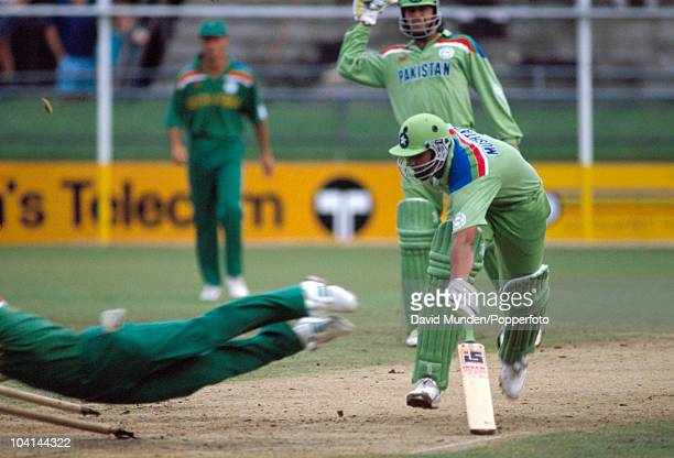 Pakistan batsman InzamamUlHaq is run out in spectacular style by Jonty Rhodes of South Africa during the World Cup match between South Africa and...