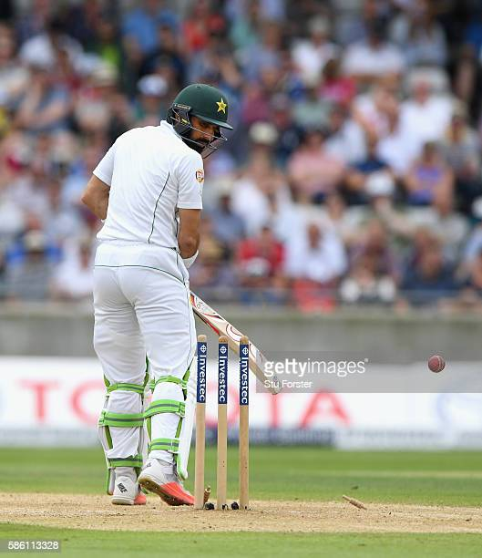 Pakistan batsman MisbahulHaq is bowled by James Anderson during day 3 of the 3rd Investec Test Match between Engand and Pakistan at Edgbaston on...