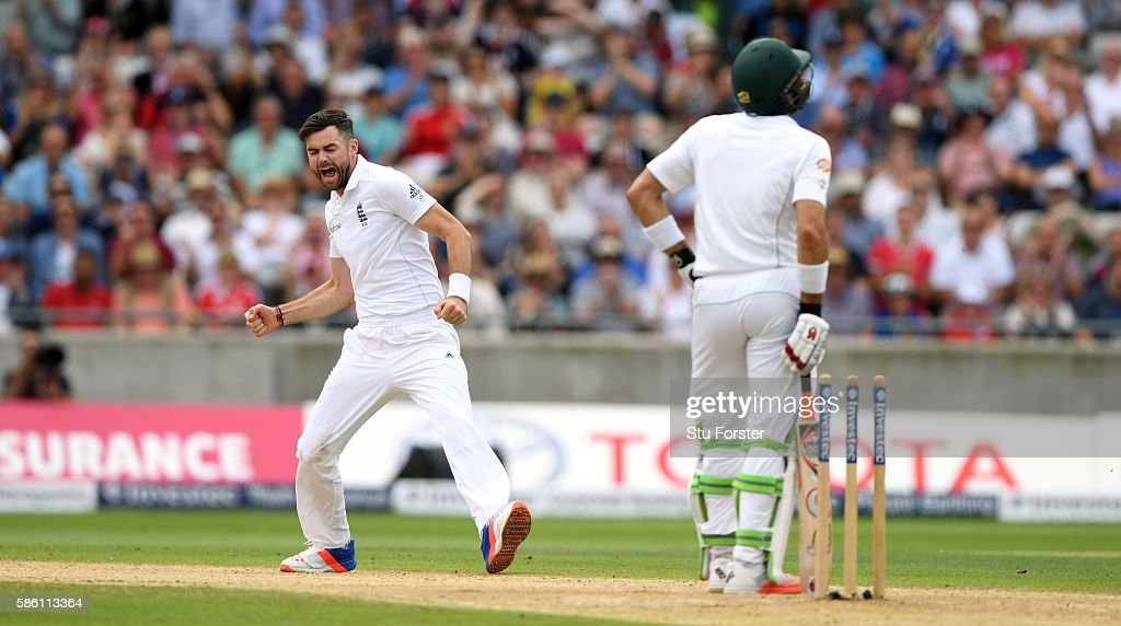 Pakistan batsman Misbah-ul-Haq is bowled by James Anderson during day 3 of the 3rd Investec Test Match between Engand and Pakistan at Edgbaston on August 5, 2016 in Birmingham, England.