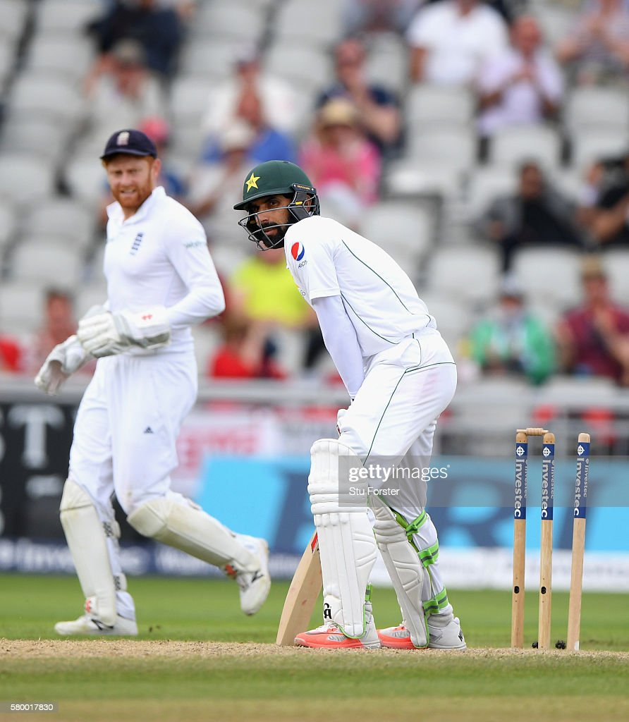 Pakistan batsman Misbah-ul-Haq reacts after being bowled for 35 runs during day four of the 2nd Investec Test match between England and Pakistan at Old Trafford on July 25, 2016 in Manchester, England.
