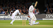 Pakistan batsman Mohammad Amir is caught by Joe Root at slip off the bowling of Stuart Broad during day two of the 1st Investec Test match between...