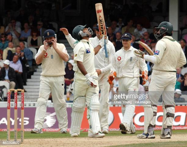 Pakistan batsman Mohammad Hafeez celebrates reaching his fifty runs during the second day of the fourth NPower test between England and Pakistan at...