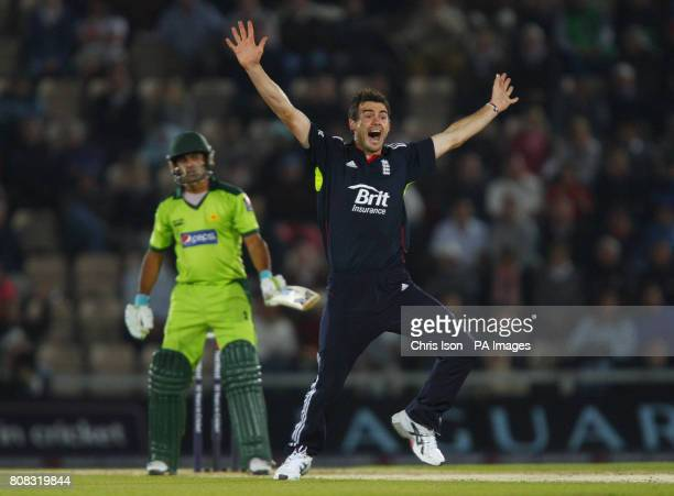 Pakistan batsman Mohammad Hafeez survives an appeal by James Anderson during the fifth one day international at The Rose Bowl Southampton