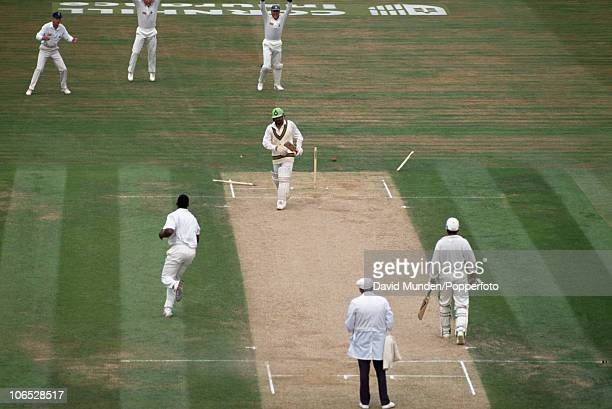 Pakistan batsman Ramiz Raja is comprehensively bowled by Devon Malcolm for 19 runs on the second day of the 5th Test match between England and...