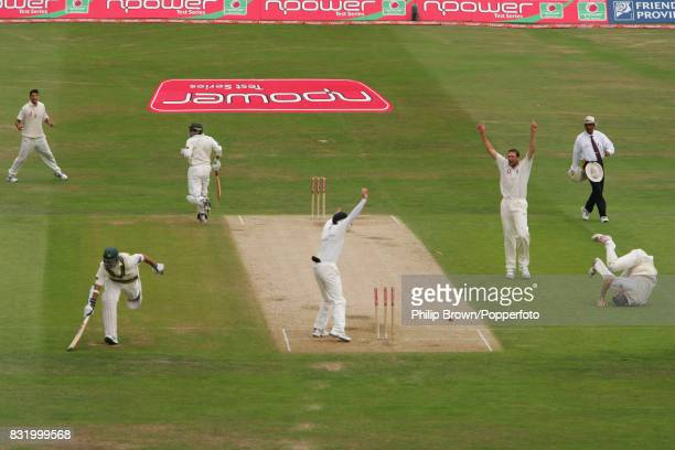 Pakistan batsman Salman Butt is run out for 20 runs by Kevin Pietersen of England during the 3rd Test match between England and Pakistan at...