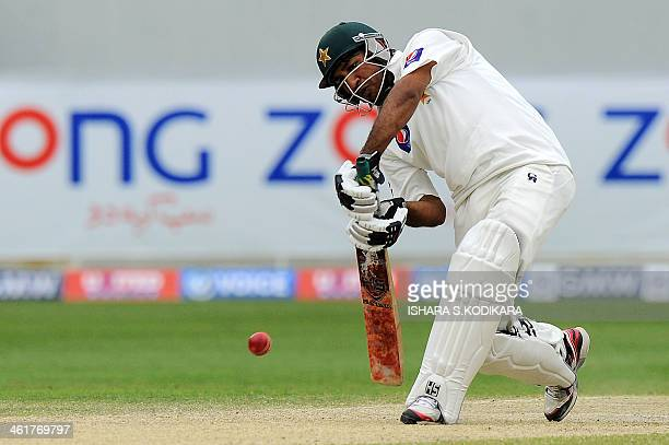 Pakistan batsman Sarfraz Ahmed plays a shot during the fourth day of the second cricket Test match between Pakistan and Sri Lanka at the Dubai...