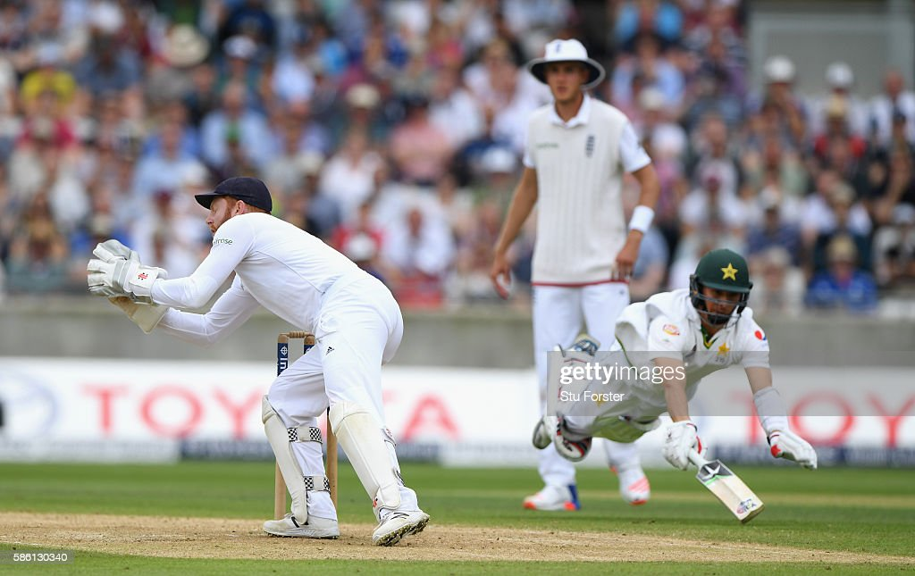 Pakistan batsman Yasir Shah dives full length for his ground but is run out by England wicketkeeper Jonny Bairstow during day 3 of the 3rd Investec Test Match between Engand and Pakistan at Edgbaston on August 5, 2016 in Birmingham, England.