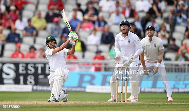 Pakistan batsman Younis Khan hits Moeen Ali only to be caught by Alex Hales on the boundary during day four of the 2nd Investec Test match between...