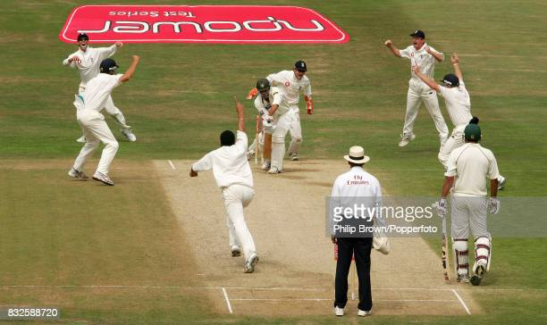 Pakistan batsman Younis Khan is bowled by England's Monty Panesar for 41 runs during the 3rd Test match between England and Pakistan at Headingley...