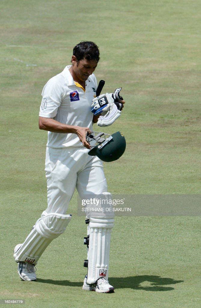 Pakistan Batsman Younis Khan leaves the field after being caught behind by Graeme Smith from the bowling of Dale Steyn during the third day of the third Test match between South Africa and Pakistan on February 24, 2013 at Super Sport Park in Centurion.