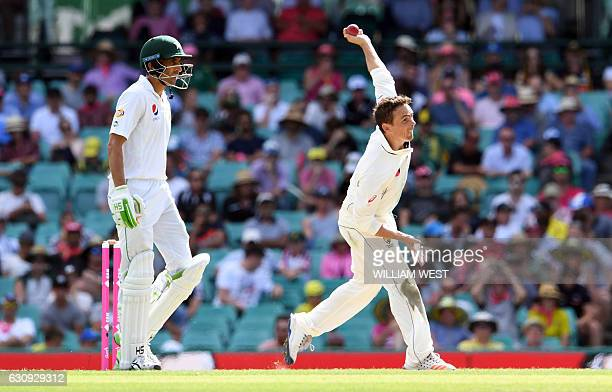 Pakistan batsman Younis Khan looks on as Australia's spinner Steve O'Keefe sends down a delivery during the second day of the third cricket Test...