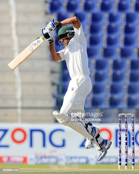 Pakistan batsman Younis Khan plays a shot during the second day of the first cricket Test match between Pakistan and Sri Lanka at the Sheikh Zayed...
