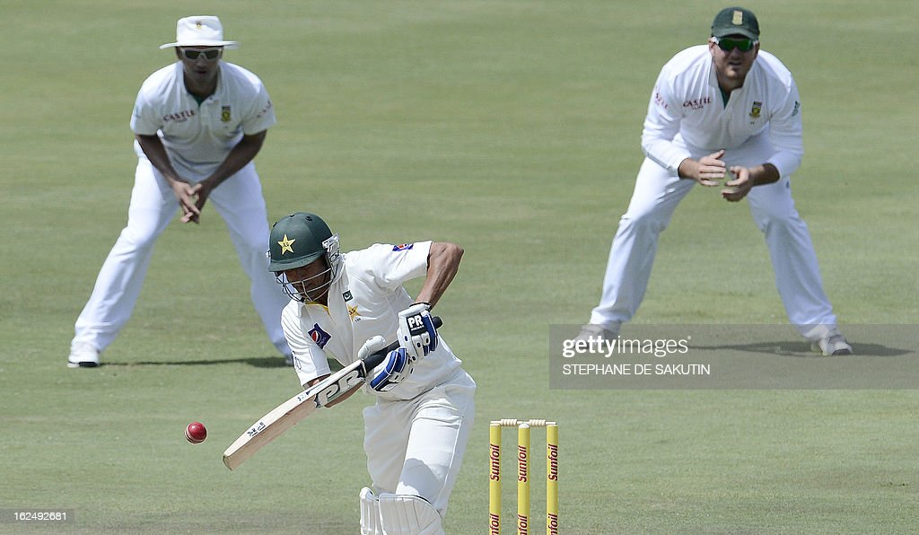 Pakistan Batsman Younis Khan plays a shot during the third day of the third Test match between South Africa and Pakistan on February 24, 2013 at Super Sport Park in Centurion.