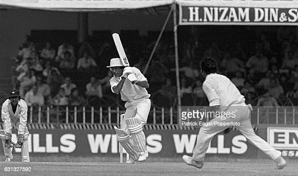 Pakistan batsman Zaheer Abbas drives Mohinder Amarnath of India during his innings of 235 not out in the 2nd Test match between Pakistan and India at...